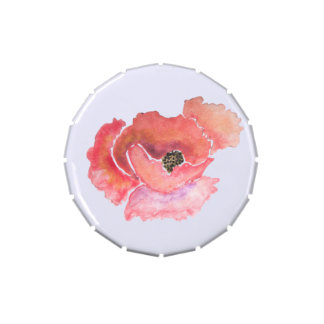Acuarela roja grande de la flor de la amapola latas de dulces