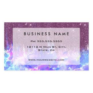 Acuarela rosada, azul, y púrpura y falso brillo tarjetas de visita