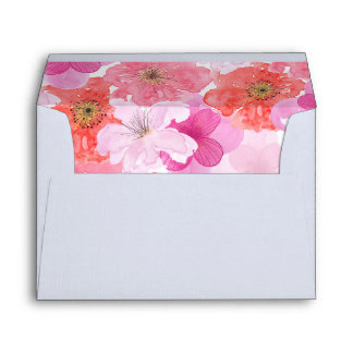 Acuarela rosada bonita floral sobres