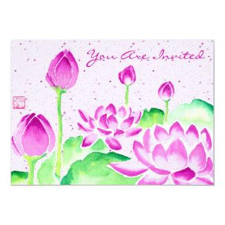 """Acuarela rosada brillante de Lotus que pinta el Invitación 5"""" X 7"""""""