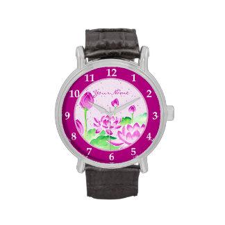 Acuarela rosada brillante de Lotus que pinta el pa Reloj