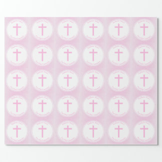 Acuarela rosada de la comunión papel de regalo