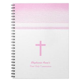 Acuarela rosada de la comunión spiral notebook
