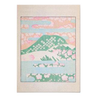 """Acuarela rosada de la montaña invitación 4.5"""" x 6.25"""""""