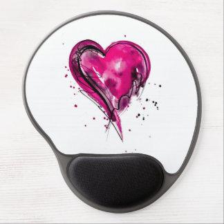 Acuarela rosada del corazón alfombrillas de ratón con gel