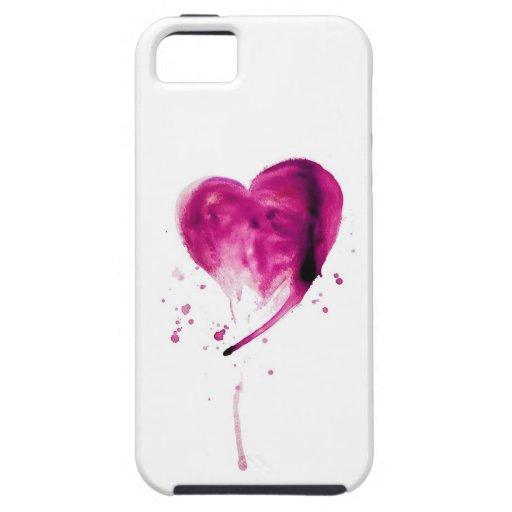 Acuarela rosada del corazón iPhone 5 coberturas