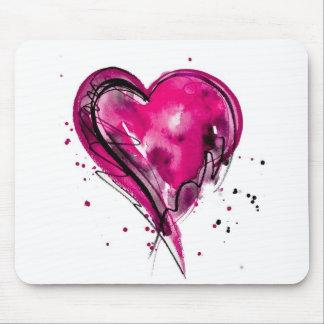 Acuarela rosada del corazón alfombrilla de ratones