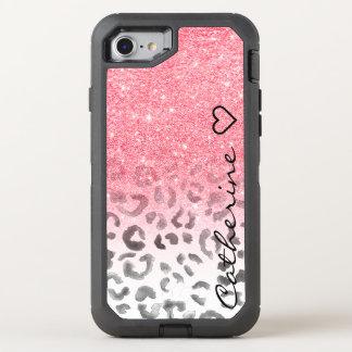 Acuarela rosada del leopardo del brillo del oro funda OtterBox defender para iPhone 7