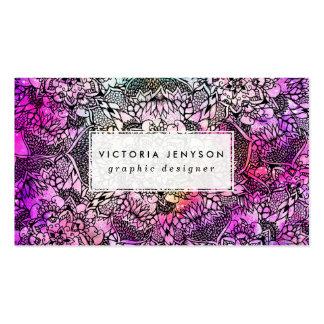 Acuarela rosada handdrawn de la nebulosa de la tarjetas de visita