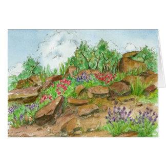 Acuarela rugosa del paisaje del desierto del feliz tarjeta de felicitación