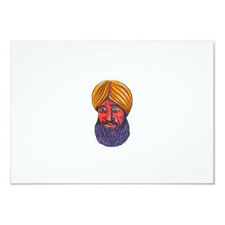 """Acuarela sikh de la barba del turbante invitación 3.5"""" x 5"""""""
