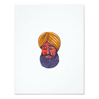 """Acuarela sikh de la barba del turbante invitación 4.25"""" x 5.5"""""""