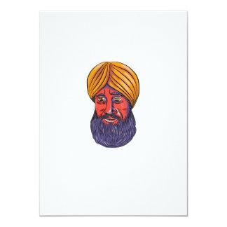 """Acuarela sikh de la barba del turbante invitación 4.5"""" x 6.25"""""""