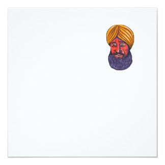 """Acuarela sikh de la barba del turbante invitación 5.25"""" x 5.25"""""""