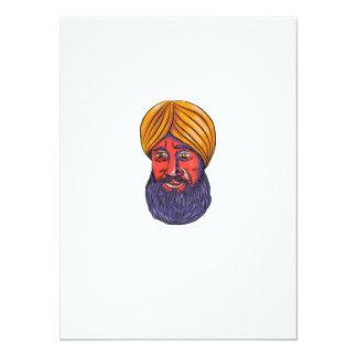 """Acuarela sikh de la barba del turbante invitación 5.5"""" x 7.5"""""""