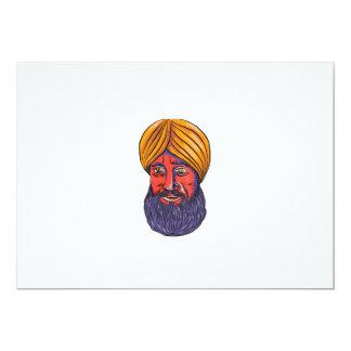 """Acuarela sikh de la barba del turbante invitación 5"""" x 7"""""""