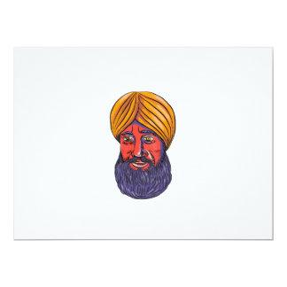 """Acuarela sikh de la barba del turbante invitación 6.5"""" x 8.75"""""""