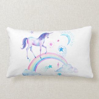Acuarela sobre el unicornio del arco iris cojín lumbar