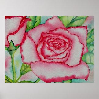 Acuarela subió verano rosado romántico CricketDian Impresiones