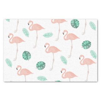 Acuarela tropical de la hoja del flamenco rosado papel de seda pequeño