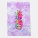 Acuarela tropical de la piña hawaiana de neón bril toalla de mano