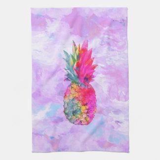 Acuarela tropical de la piña hawaiana de neón bril toallas de mano