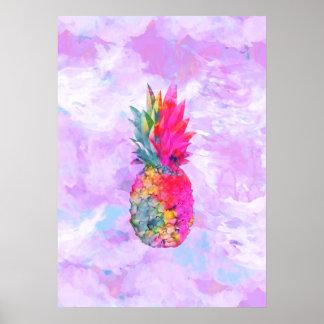 Acuarela tropical de la piña hawaiana de neón bril póster