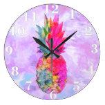 Acuarela tropical de la piña hawaiana de neón bril relojes de pared