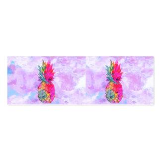 Acuarela tropical de la piña hawaiana de neón bril tarjetas de visita mini