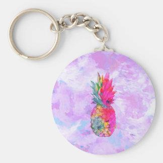 Acuarela tropical de la piña hawaiana de neón llavero redondo tipo pin