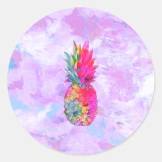 Acuarela tropical de la piña hawaiana de neón pegatina redonda