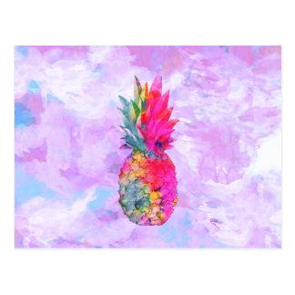 Acuarela tropical de la piña hawaiana de neón postal