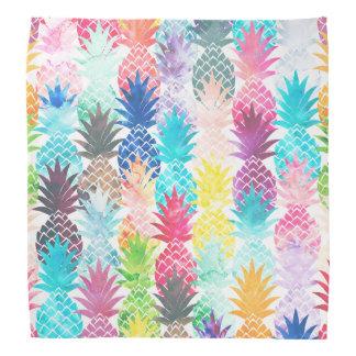 Acuarela tropical del modelo hawaiano de la piña bandanas