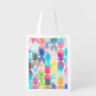 Acuarela tropical del modelo hawaiano de la piña bolsas para la compra