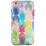 Acuarela tropical del modelo hawaiano de la piña funda resistente iPhone 6 plus