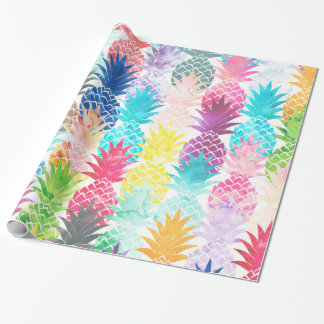 Acuarela tropical del modelo hawaiano de la piña papel de regalo