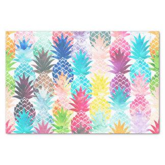 Acuarela tropical del modelo hawaiano de la piña papel de seda pequeño