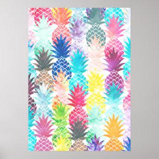 Acuarela tropical del modelo hawaiano de la piña póster