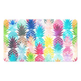Acuarela tropical del modelo hawaiano de la piña tarjetas de visita