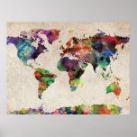 Acuarela urbana del mapa del mundo impresiones