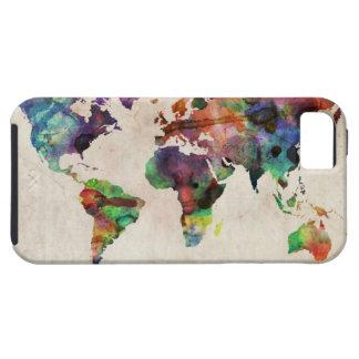 Acuarela urbana del mapa del mundo iPhone 5 funda