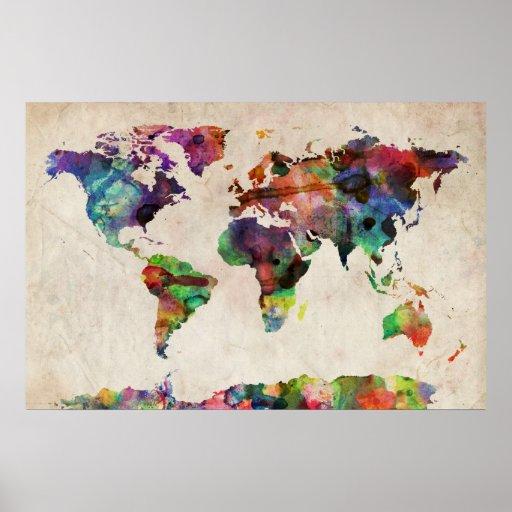 Acuarela urbana del mapa del mundo posters