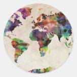 Acuarela urbana del mapa del mundo pegatina redonda
