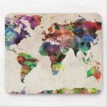 Acuarela urbana del mapa del mundo tapete de ratón