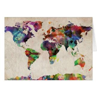 Acuarela urbana del mapa del mundo felicitación