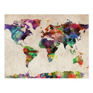 Acuarela urbana del mapa del mundo tarjetas postales