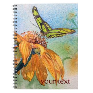 Acuarela verde tropical de la mariposa libro de apuntes