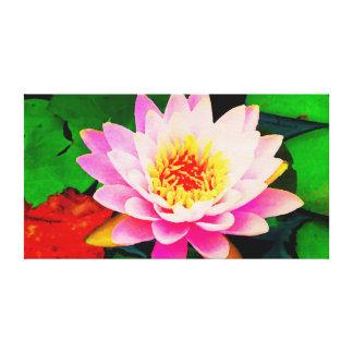 Acuarela Waterlily rosado Lienzo Envuelto Para Galerías