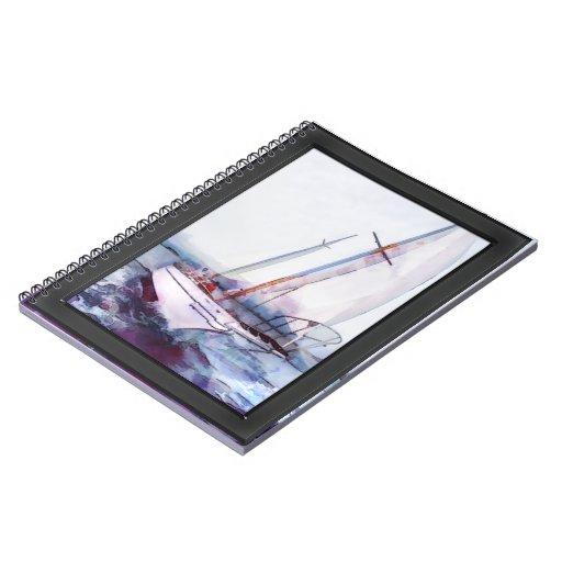 Acuarela y tinta simples del velero que se inclina spiral notebook