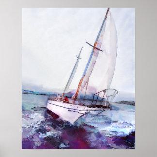 Acuarela y tinta simples del velero que se inclina póster